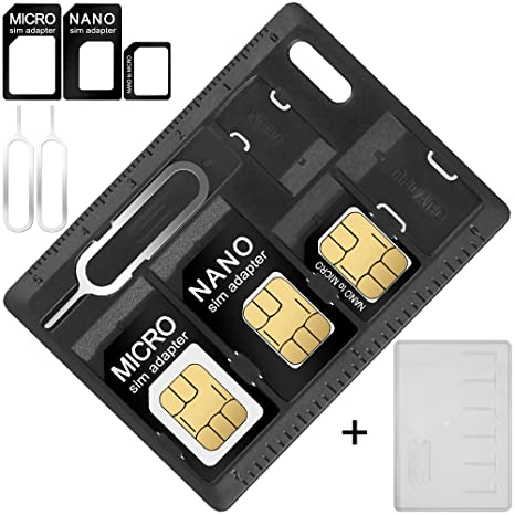 AFUNTA SIM Card & MicroSD Holders with 2 Tray Opener Pins, 2 Packs Card Storage Cases for Standard Micro Nano Micro-SD Memory Cards, with 3 Card ...