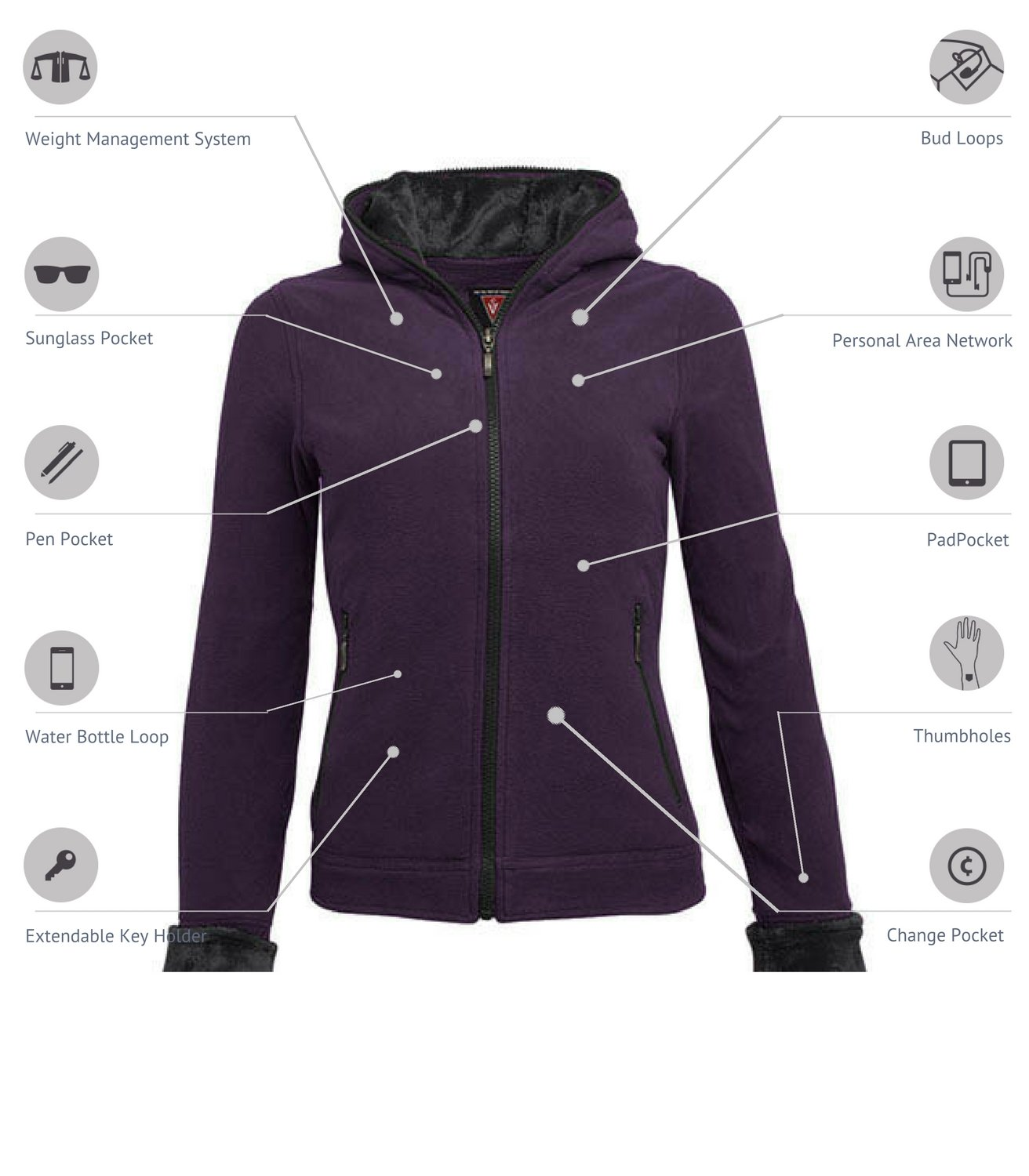 SCOTTeVEST Chloe Hoodie - 14 Pockets - Travel Clothing, Pickpocket Proof DAR XL by SCOTTeVEST (Image #2)