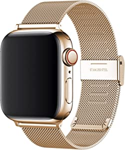 Replacement Bands Compatible with Apple Watch 44mm 42mm 40mm 38mm, Stainless Steel Watch Band for iWatch 6 SE 5 4 3 2 1 (40mm/38mm, Rose Gold)