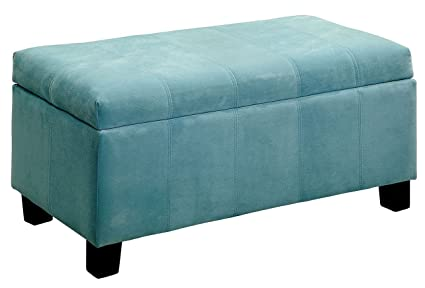 Furniture Of America CM BN6036BL Remi Blue Ottoman Living Room