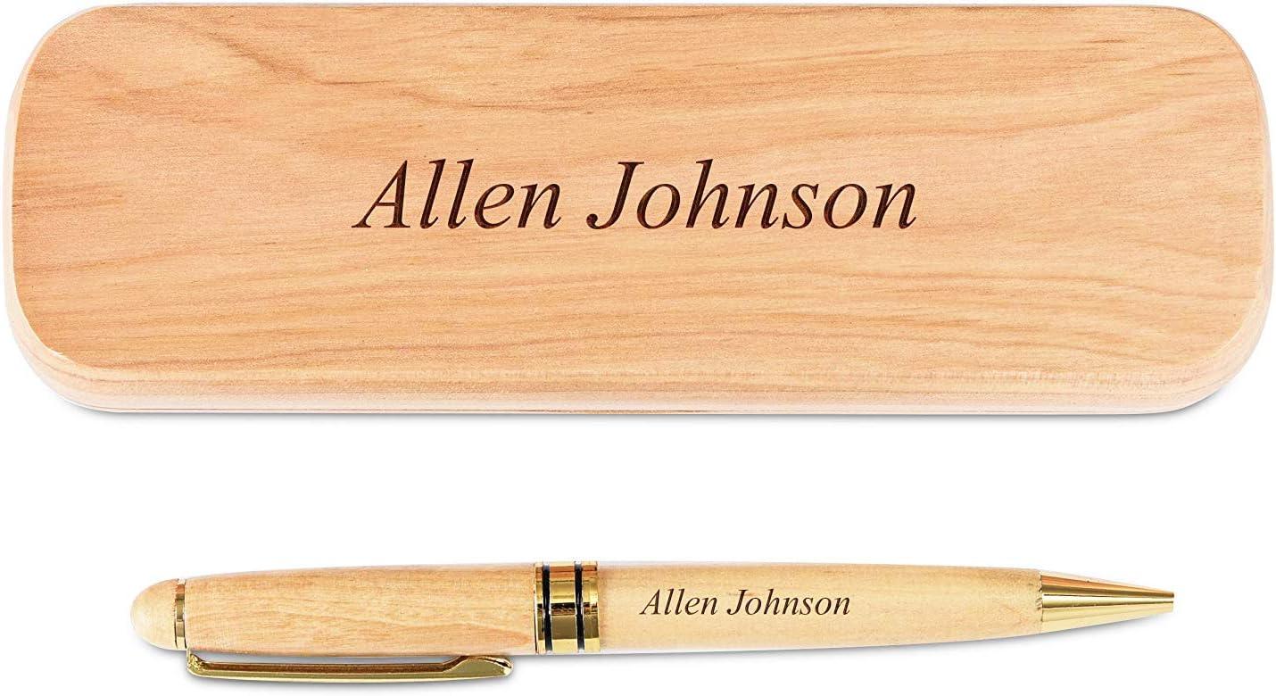 Juego de bolígrafo y estuche de madera de arce grabado personalizado (Con caja de regalo negra)