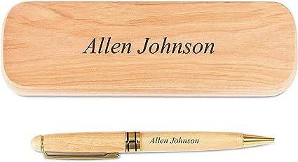 Juego de bolígrafo y estuche de madera de arce grabado personalizado (Con caja de regalo negra): Amazon.es: Oficina y papelería