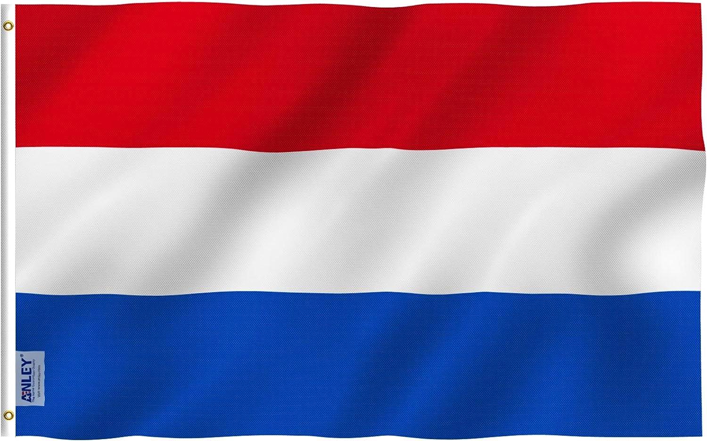 Anley Fly Breeze Bandera Holandesa de 3x5 pies - Color Vivo y Resistente a la decoloración UV - Encabezado de Lona y Doble Costura - Banderas Nacionales de Holanda Poliéster con Arandelas: