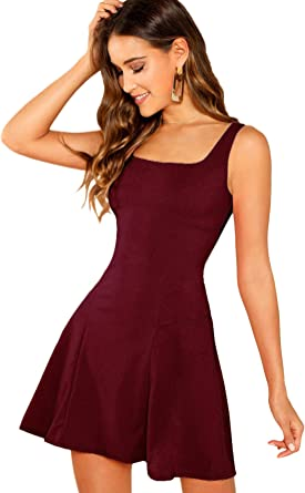 DIDK Womens Sleeveless A Line Fit and Flare Glitter Above Knee Party Cocktail Skater Dress