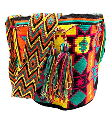 Colombian MOCHILA WAYUU - Crossbag - Finest Quality - HandMade - Shoulder - Crossbody - Bag - Bucket: Handbags: Amazon.com