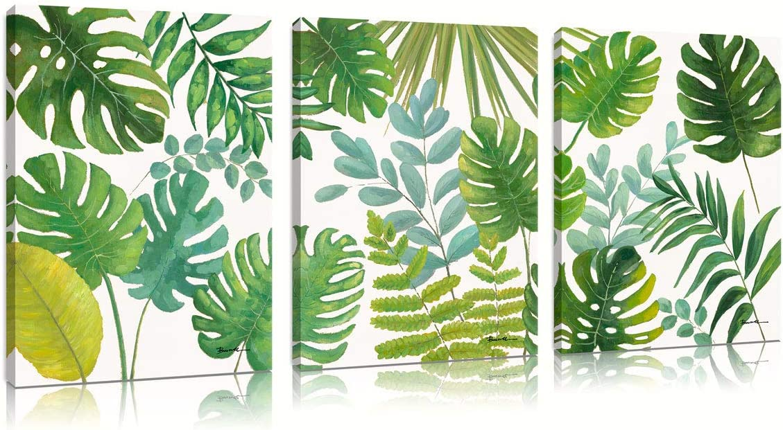 B BLINGBLING Green Tropical Plant Leaf Wall Art Decor Office Living Room Bedroom: Canvas Print Decorative Painting Poster Modern Home Decorations Ready to Hang 12