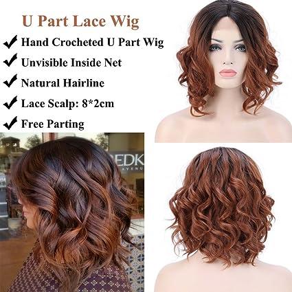 Lace Front Wig Pelucas Bob Rizadas Cortas Pelo Sintético Peluca Media  Melena de Encaje Frontal Se c964373dbf71