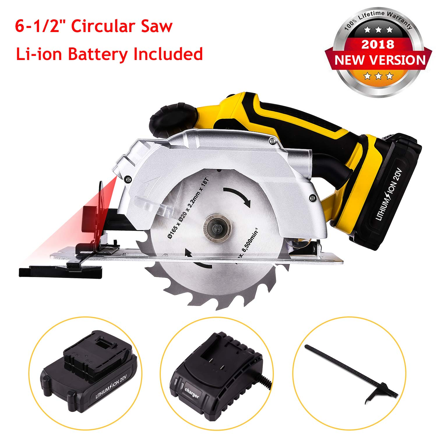Rendio 20V Portable Circular Saw, Cordless, 7000 RPM 6-1/2'' Saw Blade with Lightweight Safety Guard, Laser Guide and Guide Ruler, Li-ion Battery and Charger Adapter Included