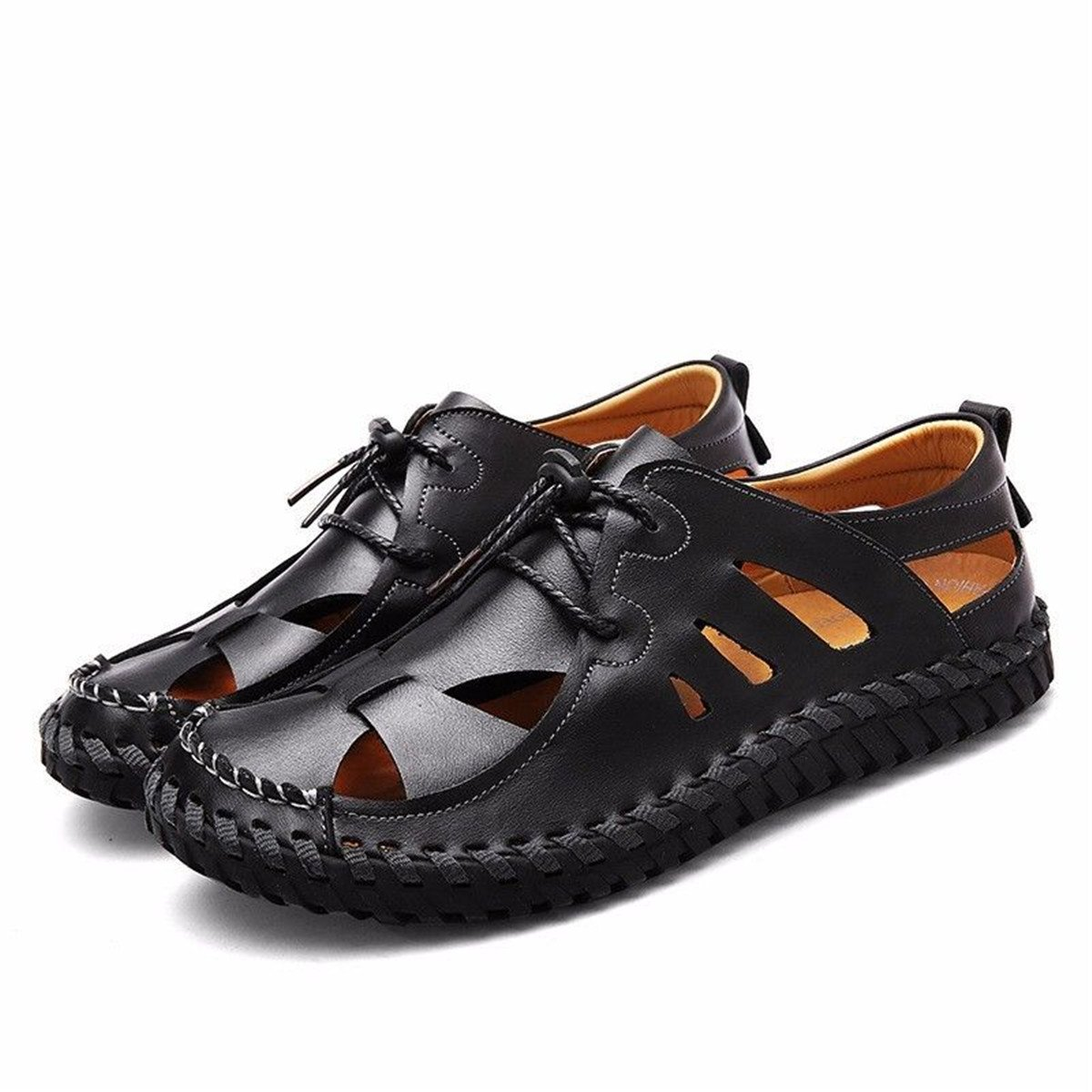 BININBOX Men's Flat Sandals Summer Breathable Shoe Closed-Toe Soft Sport Shoelaces (7 B(M) US, Black)