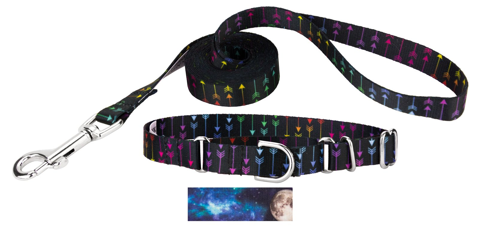 Country Brook Design Martingale Collar & Leash- Country and Western Collection (Extra Small, 1/2 Inch Wide, Colorful Arrows)