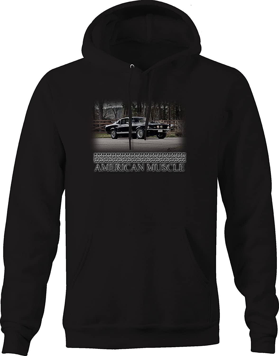 Bold Imprints American Muscle GT350 1960s Black Muscle Car Graphic Hoodie for Men