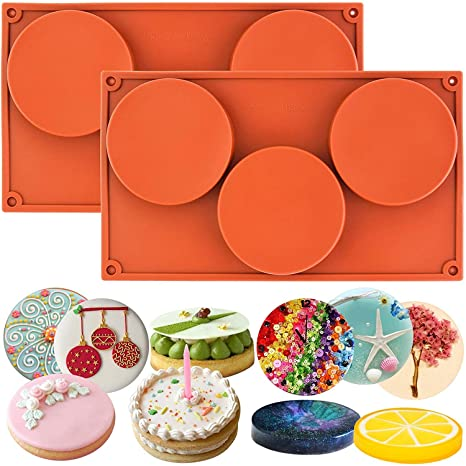 Juego de 2 moldes redondos de silicona para tartas, pasteles, pasteles, pasteles,