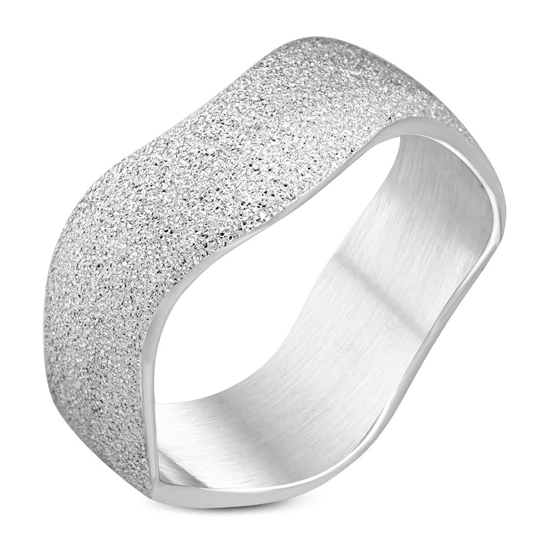 Stainless Steel Sandblasted Classic Wave Wedding Band Ring