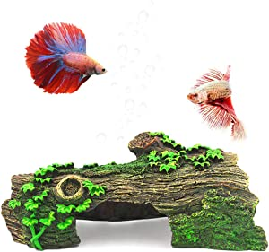 Anxyuan Hide Hollow Tree Log Decaying Trunk, Resin Wood Decoration Fish Tank Aquarium Ornament with Green Grass Hide-Away Holes for Fish and Shrimp to Swim