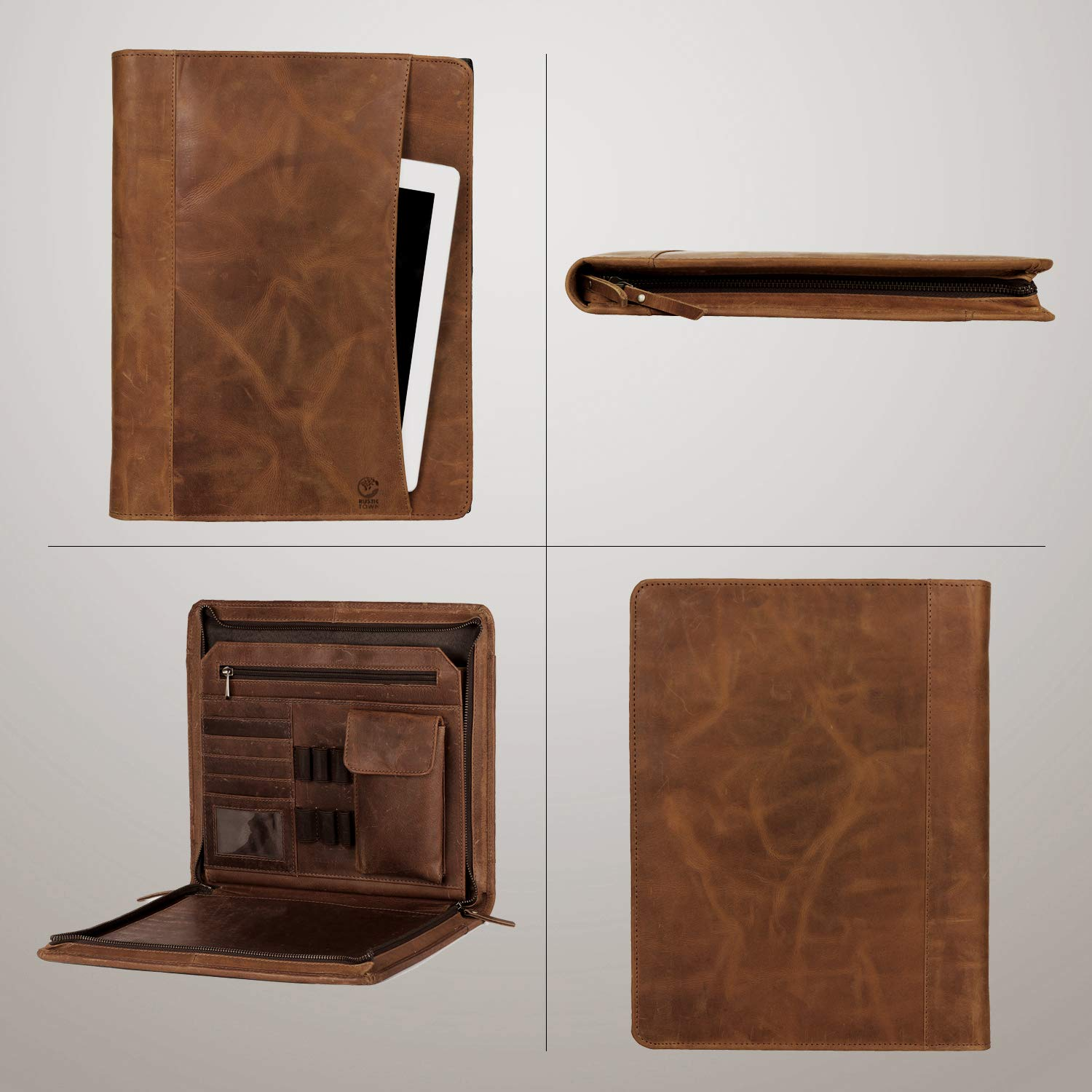 Business Leather Padfolio Leather Portfolio Easy to Carry with A Zippered Closure Professional Organizer Gift for Men /& Women Compartments /& Holders Durable Leather Padfolio Many Slots