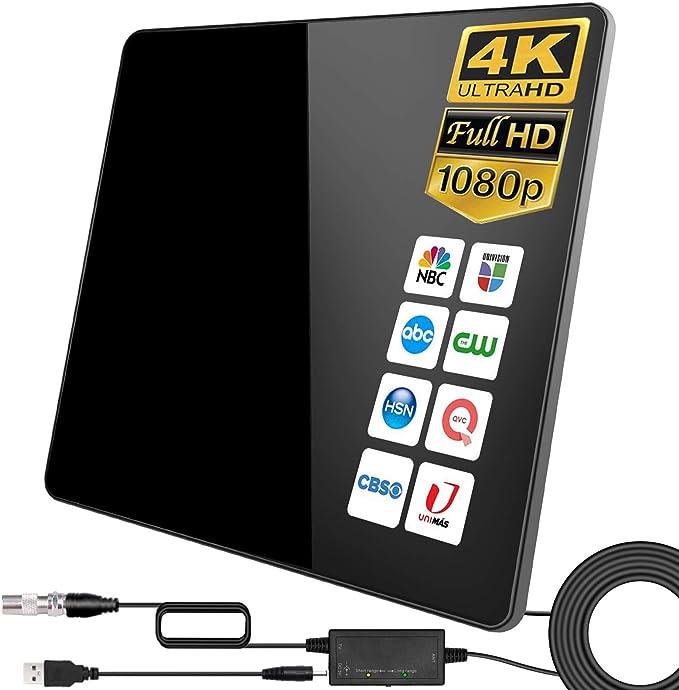 2021 Newest Antena de TV,320KM Antena de TV Digital para Interiores de Alcance con Amplificador Inteligente de Señal, Adecuada para Canales de TV ...