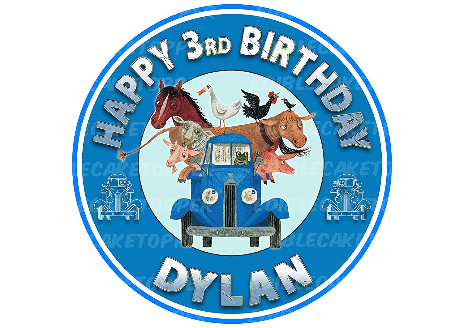 EdibleInkArt Little Blue Truck Edible Cake Topper Personalized Birthday 6'' Round Circle Decoration Party Birthday Sugar Frosting Transfer Fondant Image ~ Best Quality Edible Image for Cake