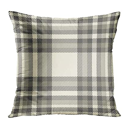 3344216637 TOMKEYS Throw Pillow Cover Beige Bedding Tartan Plaid Pattern Traditional  Checkered in Palette of Brown Gray