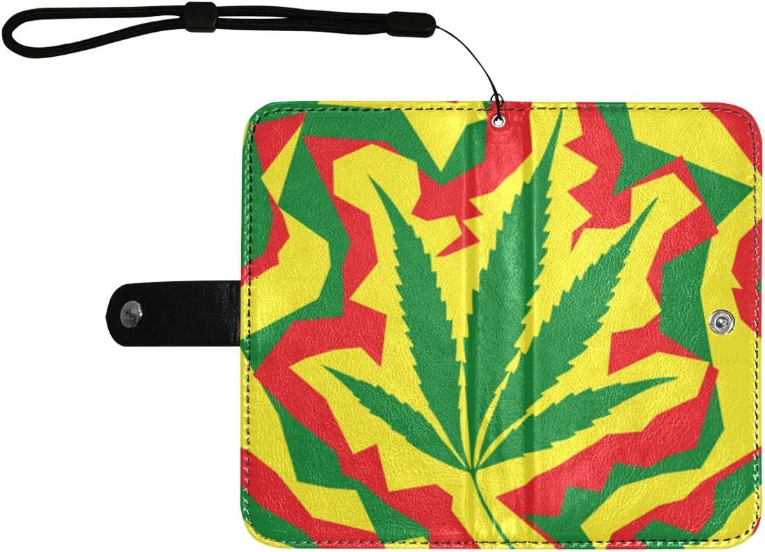 Funda de cuero con tapa para teléfono Marihuana Hoja de cannabis Cubierta colorida con tapa para teléfono celular con ranuras para tarjetas Correa para la muñeca Cartera de cuero para teléfono móvil