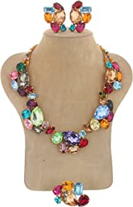 A Set Consisting Of A Necklace And Earrings With Swarovski Crystal Stones For Women,