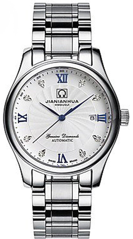 carlien con incrustaciones diamante JIANIANHUA hombres cuarzo reloj calendario acero hombres tres aguja fina de reloj: Amazon.es: Relojes