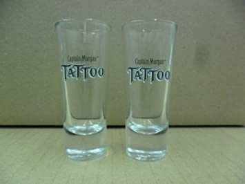 set of 2 captain morgan rum tattoo black logo tall shooter shot glasses