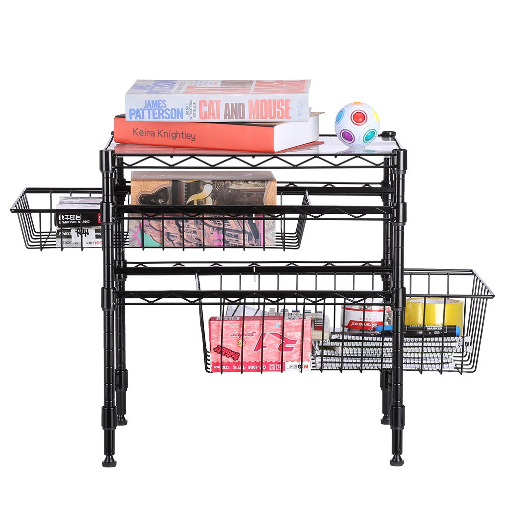 Rackaphile Stackable 2 Tier Sliding Basket Organizer Drawer, Under Sink Cabinet with Adjustable Leveling Feet, Rack Shelf for Bathroom Kitchen Closet Office Desktop, Black by Rackaphile