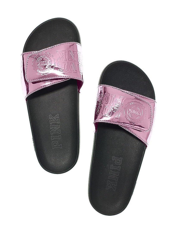 Victoria's Secret Pink Crossover Slides Metallic Pink Berry Gelato Medium