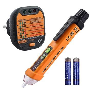 Neoteck Kit de Prueba Eléctrica Incluye 12-1000V AC un Detector de Voltaje sin Contacto y Comprobador de Enchufe para Laboratorio Taller Educación ...