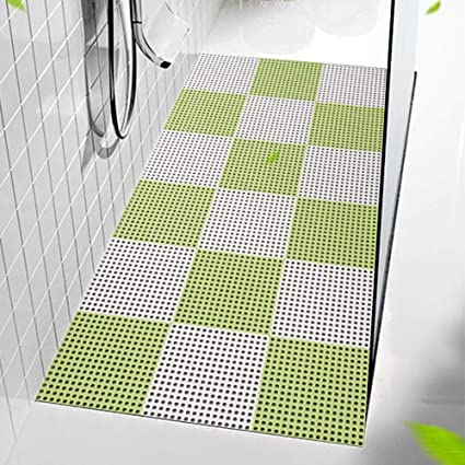 Xuekekea Interlocking Rubber Floor Tiles 11 8 Inches Each Side Wet Areas Like Pool Shower Locker Room Bathroom Bath Mat Can Be Cut White Green 25 Pieces Amazon Co Uk Kitchen Home
