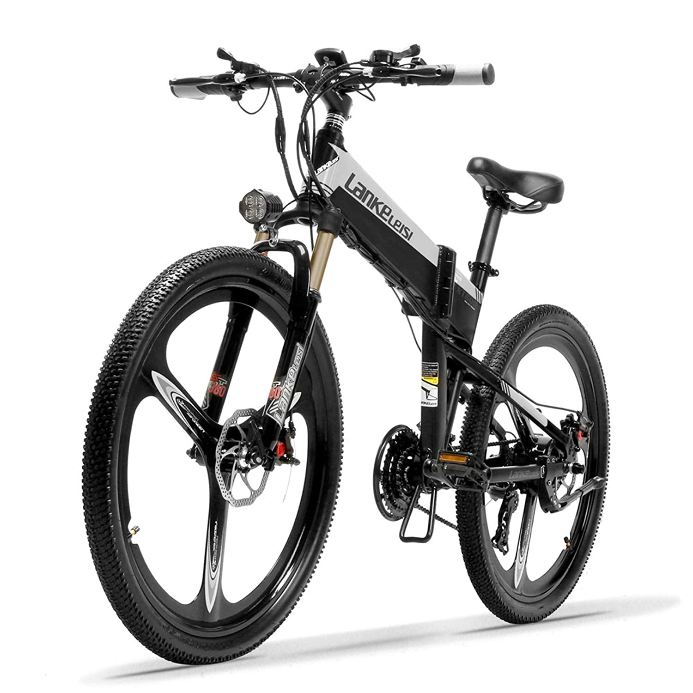 XT600 26インチ折りたたみ自転車400W 12.8Ahリムーバブルバッテリー21スピードマウンテンバイクサスペンションフォーク5PAS駆動補助機付自転車 B07LCNWY1J 10.4Ah + 1予備バッテリ ブラックグレー ブラックグレー 10.4Ah + 1予備バッテリ