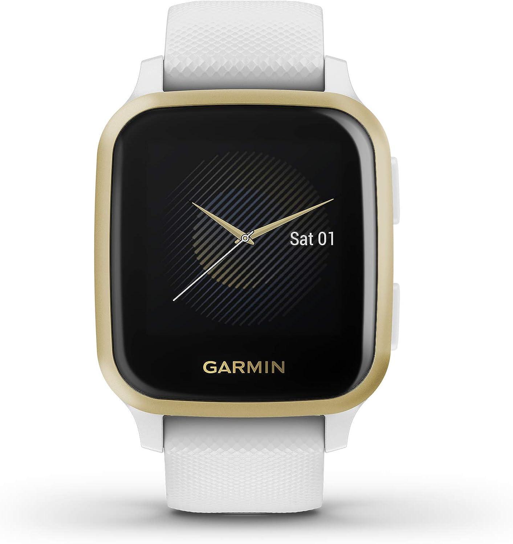 Garmin Venu Sq, Reloj Inteligente con GPS - Blanco y Dorado