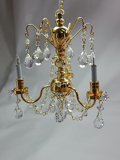 Dollhouse Miniature Handcrafted 3 Arm Crystal Brass Chandelier 1:12