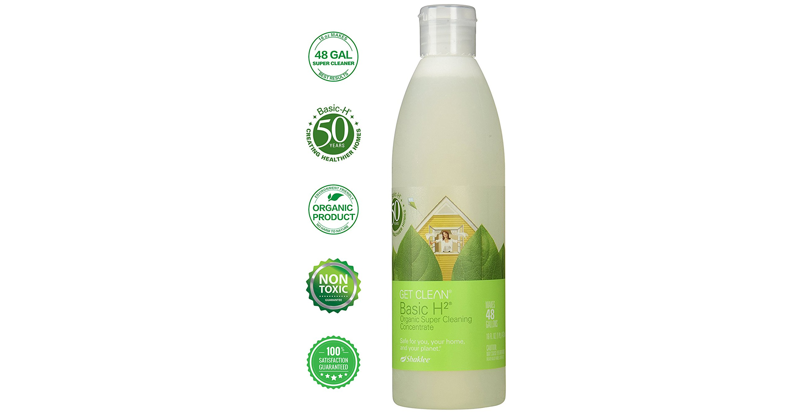 Basic H2 Organic All Purpose Cleaner Concentrate 16 oz Makes 48 Gallons – Best Results – Kids & Pets Safe