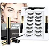 7 Pairs 3D 6D Magnetic Eyelashes with Eyeliner Kit, 2 Tubes of Magnetic Eyeliner Natural Look Reusable False Lashes Set…