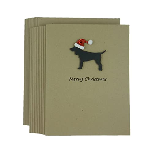 Amazon dog kraft holiday christmas greeting cards 10 pack dog kraft holiday christmas greeting cards 10 pack black lab with santa hat m4hsunfo