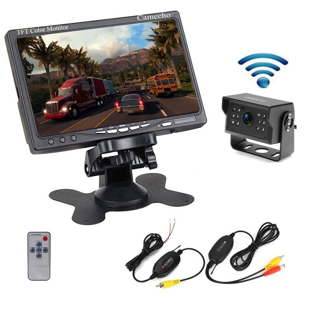 Camecho Wireless Vehicle Backup Camera 7 Inch TFT Monitor 12 IR Night Vision Professional Waterproof Rear Camera for Truck, Trialer, RV, Caravan, Camper