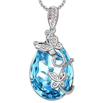 107d292b9ae Amazon.com: MEGA CREATIVE JEWELRY Aquamarine Butterfly Teardrop Pendant  Necklace with Crystals from Swarovski: Jewelry