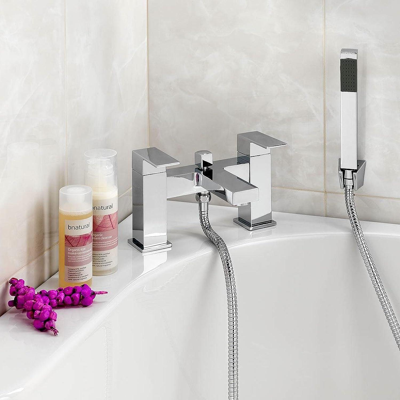 ENKI Miscelatore moderno per vasca da bagno con doccetta squadrato MILAN IMDSW081CH/3