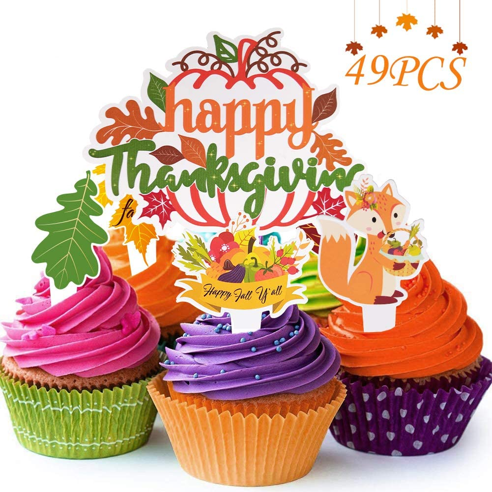 Thanksgiving Party Supplies Harvest Cake Toppers Decorations, 48PCS Autumn Pumpkin Turkey Cupcake Picks Kit Parties Decor, Fall Maple Leaf Food Cake Snack Bake Dessert Favors Holiday