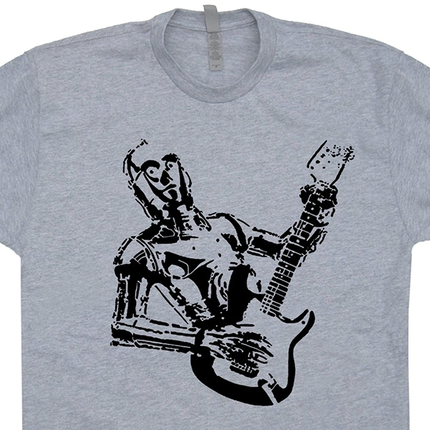 Robot Guitar T Shirt Bass Amp Shirts Robot Playing Electric Rock Band 80s Tee Vintage Guitarist