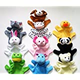 Yunko Zoo 10 Set Animals Set Sock Glove Soft Cute Hand Finger Puppets Sack Plush Toy for Kids babys Entertainment