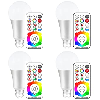 yangcsl e26 dimmable color changing led light bulbs with remote control memory u0026 3