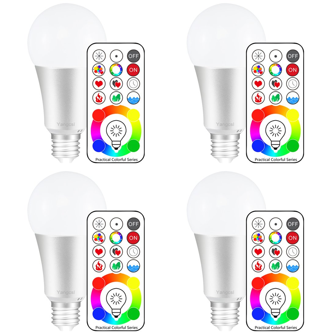 Yangcsl 120 Colors E26 Dimmable Color Changing LED Light Bulbs with Remote Control, Memory & sync, Daylight White & RGB Multi Color, 60 Watt Equivalent (4 Pack) by Yangcsl