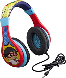 Ryans World Kids Headphones, Adjustable Headband, Stereo Sound, 3.5Mm Jack, Wired Headphones for Kids, Tangle-Free, Volume Control, Foldable, Childrens Headphones Over Ear for School Home, Travel