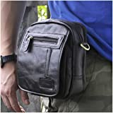 Le'aokuu Men Genuine Leather Brown Waist Fanny Pack Hip Bum Small Messenger Tactical Travel Bag