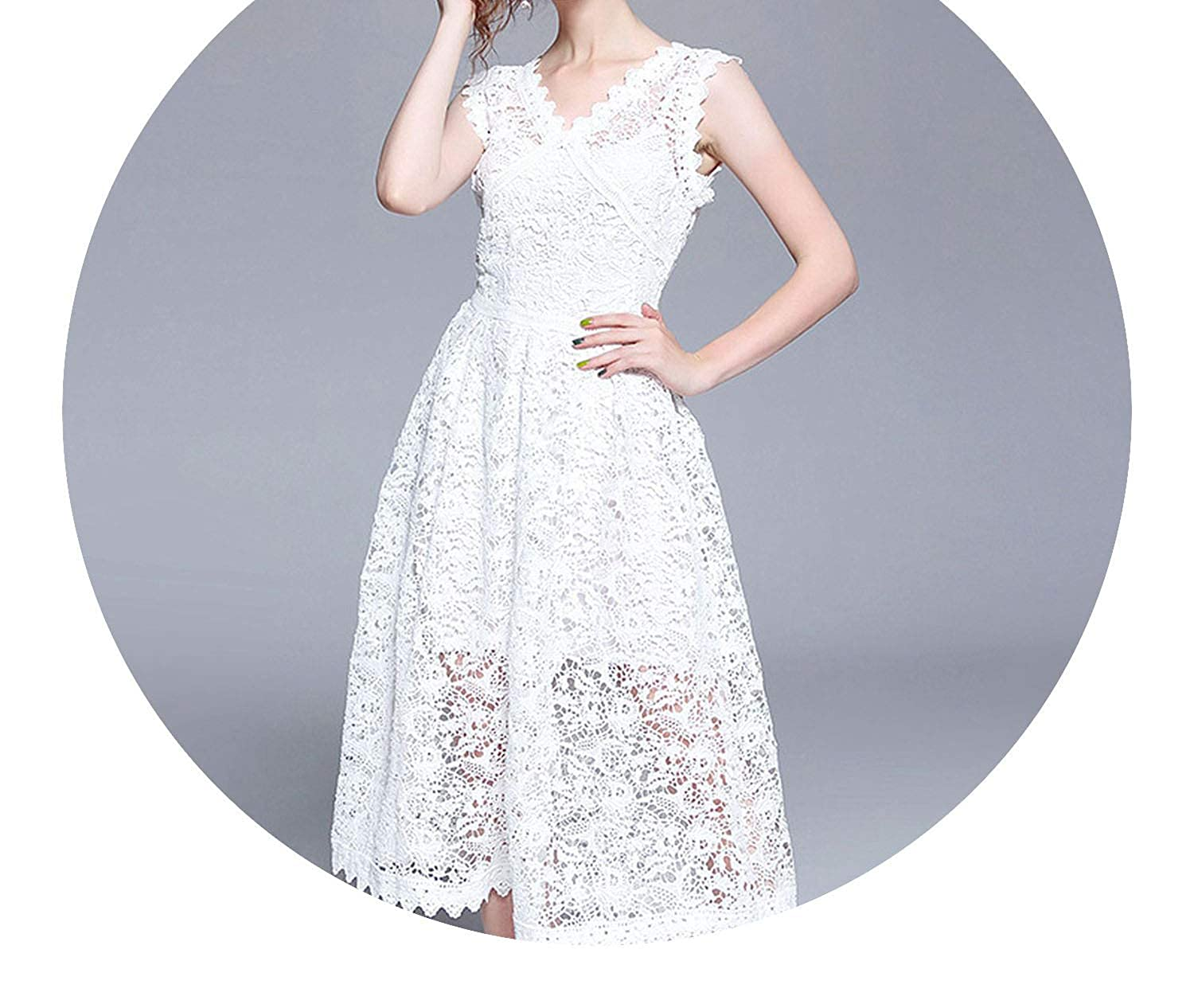 better-caress-mesh perspective dress Solid White Lace Tank Sleeveless V Neck Two-Pieces Dress Elegant Vestidos Cheap Clothes