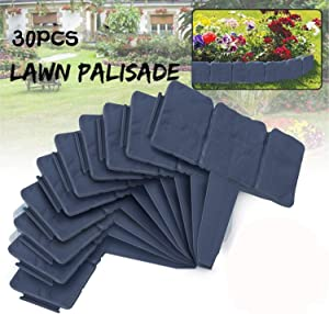 LeHom Garden Plastic Fence Edging 30Pcs Grey Cobbled Stone Effect Fence Lawn Plant Border Decorative Flower Tree Grass Bed Border for Landscaping Walkways 24FT