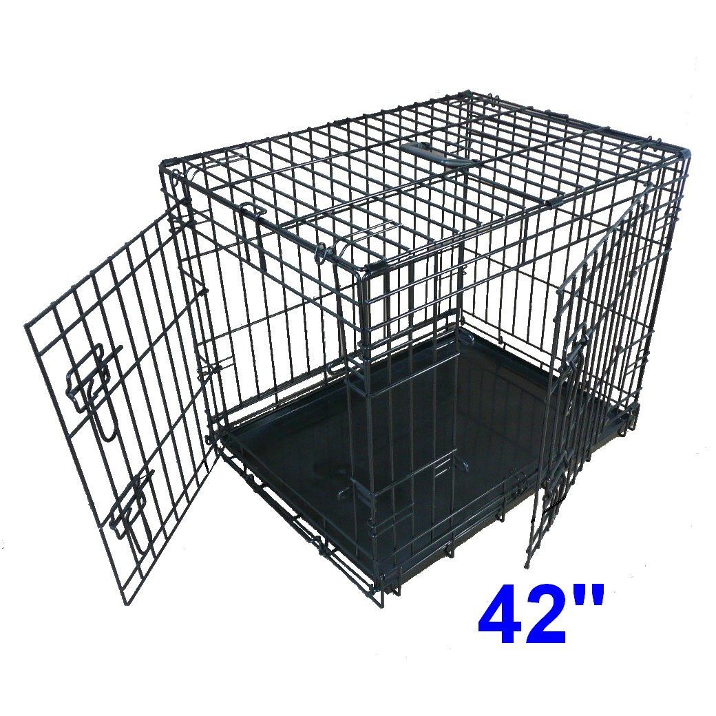 elliebo dog puppy cage folding  door crate with nonchew metal  - elliebo dog puppy cage folding  door crate with nonchew metal tray extralarge inch black amazoncouk pet supplies