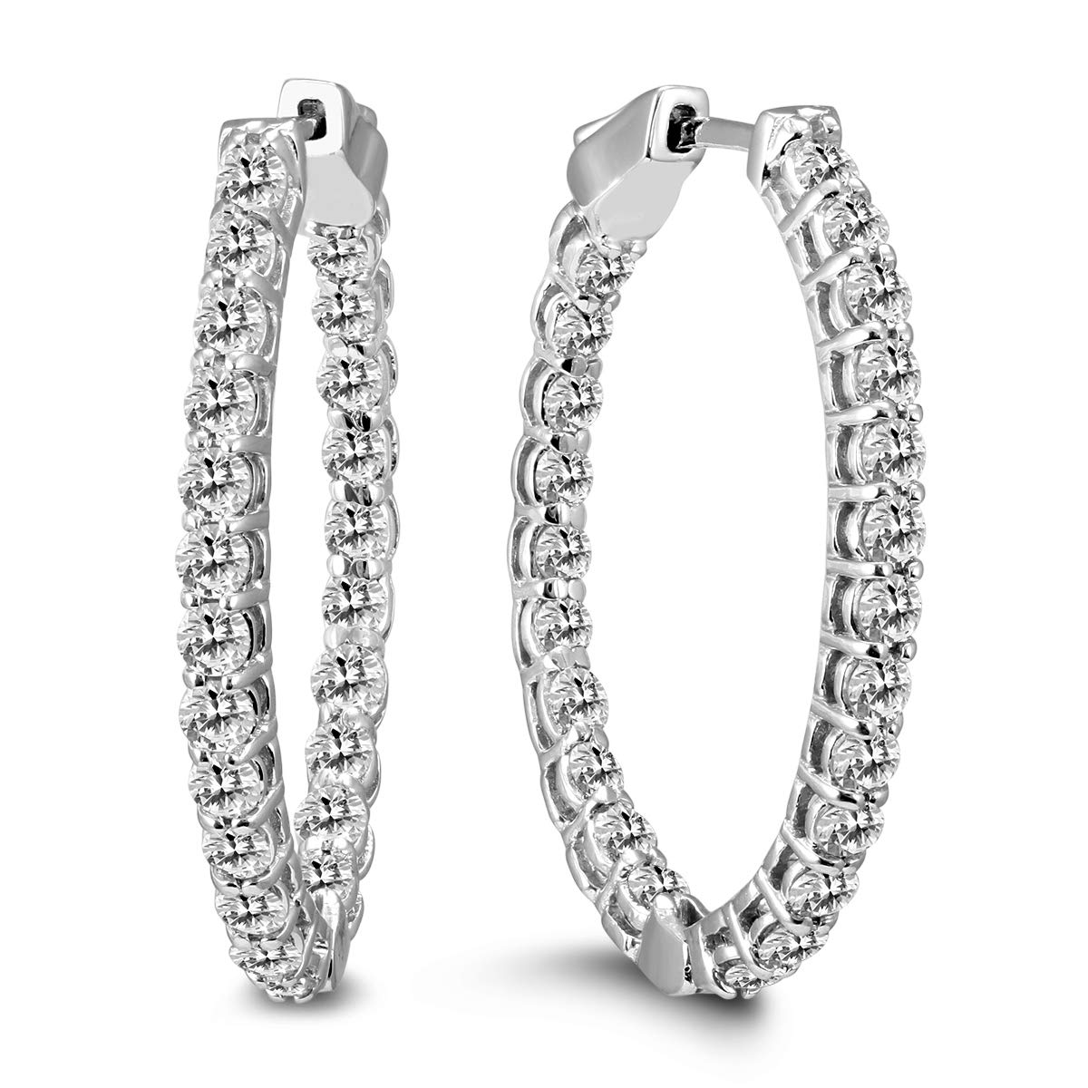 AGS Certified 3 Carat TW Oval Diamond Hoop Earrings with Push Button Locks in 14K White Gold